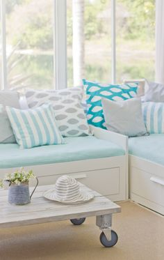 House of Turquoise: Jenna Sue different intensities of turquoise - daybed cushion is pale ocean color