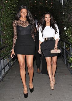 fab8ca8ccdd Kim Kardashian Mini Skirt - Kim wore a high-waisted mini skirt with a white  fringed tee for her girls night in LA.