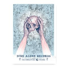 """Paul Jackson DA10 Poster  Various artists who have impressed and inspired our company, and more so influenced Dine Alone's very own aesthetic, have designed their own respective representations of the label.  The second in the series of special edition DA10 posters was designed by artist Paul Jackson to commemorate Dine Alone's 10th Year.  This 18"""" x 24"""" poster is screen printed, and limited to 50. Paul Jackson, 10 Year Anniversary, Various Artists, 10 Years, Screen Printing, Disney Characters, Fictional Characters, Aurora Sleeping Beauty, Prints"""