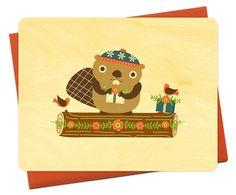 Beaver Yule Log by Night Owl Paper Goods - $24.00