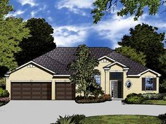 Home Plan HOMEPW13659 - 2528 Square Foot, 4 Bedroom 3 Bathroom New American Home with 3 Garage Bays | Homeplans.com