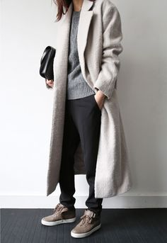 Long coat + Celine AF1s = Ooo baby.