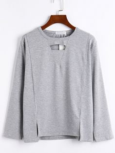 Shop Grey Long Sleeve Cutout Slit T-Shirt online. SheIn offers Grey Long Sleeve Cutout Slit T-Shirt & more to fit your fashionable needs.