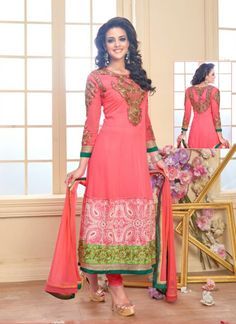 Loving Pink and Black Inviting Party Wear Georgette Anarkali Salwar Suit