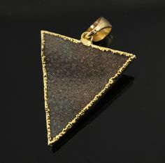 Large Druzy Triangle Pendant in Stunning Earth Tones, Heavy Gold Plated, 29x33mm, A+ Gorgeous Quality, Electroplated Edge (DZY/TRI/113) by Beadspoint on Etsy