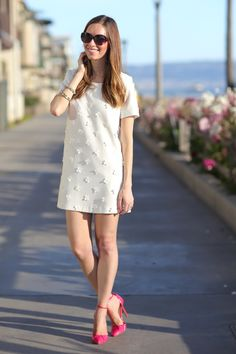 Floral Applique Dress buying this dress Tee Dress, Dress Up, Dress Ootd, Formal Casual, Floral Applique Dress, Preppy Style, My Style, Moda Formal, White Chic