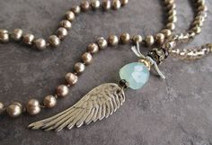 Knotted freshwater pearl angel wing long necklace por slashKnots