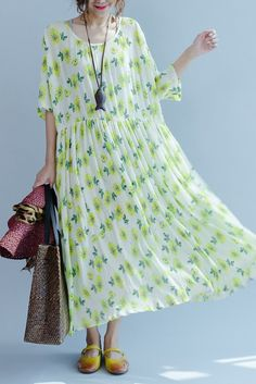 Green A little Flower Casual Holiday Summer Dresses Women Clothing Q3107