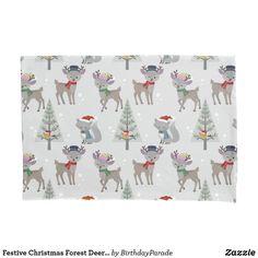 Festive Christmas Forest Deer Design Pillow Case Christmas Gift Wrapping, Christmas Gifts, Christmas Decorations, Christmas Bedding, Deer Design, King Size Duvet Covers, Designer Pillow, Winter Christmas, Reindeer