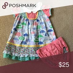 Matilda Jane Dress 6-12 months Super cute rain shower dress! Worn 2-3 times and perfect for spring! Matilda Jane Dresses Casual