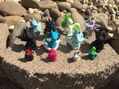 Group shot of Aether Creations Polymer Clay Dragons!