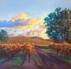 """Wente Vines"" by Debbie Wardrope  18"" x 18"" original pastel painting"