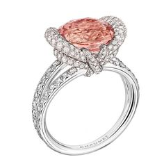 Chaumet Liens high jewellery ring in white gold featuring 142 brilliant-cut diamonds and a 5.29ct padparadscha sapphire