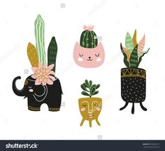 Hand drawn  house plants. Scandinavian style illustration, modern and elegant home decor. Vector isolated design elements.