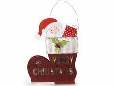 Insegna a calza con Babbo Natale e luce da appendere  cm24,5x5x32,5H(c/cordino42) Funziona con 2 pile stilo (non incluse)