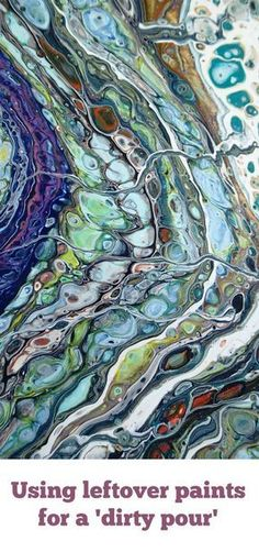 Using leftover acrylic paints for a dirty pour. How to make cells in acrylic paint video tutorial