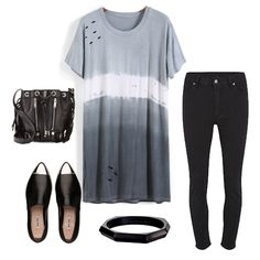 Grey Ombre Short Sleeve Hollow Loose T-Shirt-SheIn