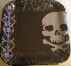 Skull Paper Party Plates Goth New 8ct Pack in Home & Garden | eBay