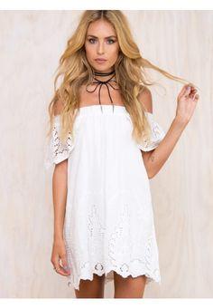 bf4295448fb0 Ordifree 2017 Summer Women Beach Dresses Crochet Embroidery Slash Neck Off  Shoulder Women White Lace Sexy Short Dress