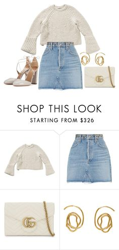 """""""Untitled #2675"""" by mariie0h ❤ liked on Polyvore featuring AGOLDE, Gucci, E L L E R Y and Aquazzura"""
