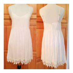 Bright White Embroidered Fully Lined Dress. Small.