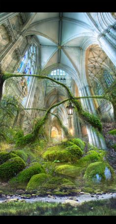 A lovely daydream of spring. art: Fantasy Garden by M J Daluz Fantasy Kunst, Sci Fi Fantasy, Fantasy World, Fantasy Garden, Fantasy Landscape, Garden Art, Beautiful Places, Beautiful Pictures, Fantasy Places