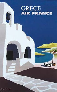 Air france art print featuring the digital art 1959 air france greece travel poster by retro