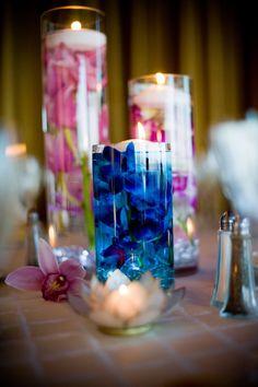 Submerged flower centerpieces.....