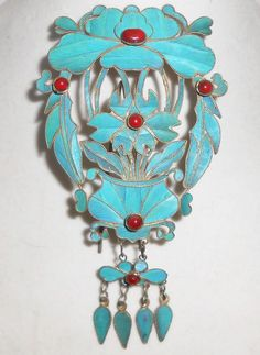 Antique Chinese Kingfisher Feather Fur Pin Antique Shawl Cloak Nouveau Coral #Unbranded