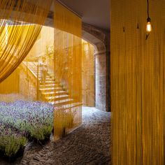 MOSCA / girona / spain / pau sarquella fabregas y carmen torres Materials And Structures, Arch Architecture, Metal Curtain, Shigeru Ban, Inside Outside, Interior Exterior, Mellow Yellow, Drapes Curtains, Installation Art