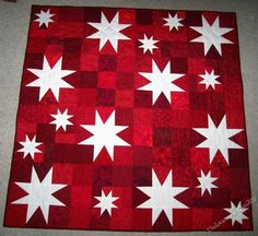 Red and White Star Quilt | November Stars Quilt by Marge Gordon, Lewes, Delaware
