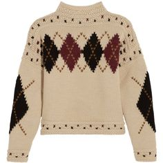 Isabel Marant Glens argyle intarsia wool and alpaca-blend sweater ($715) ❤ liked on Polyvore featuring tops, sweaters, ecru, thick sweaters, isabel marant top, wool sweaters, 80s sweaters and argyle sweater