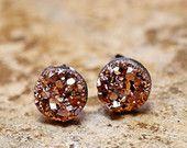 Tiny Rose Gold Druzy Earrings, 8mm Round Druzy Earrings Bronze Metallic Glitter Faux Drusy Posts Glittering Gold Stainless Steel Studs