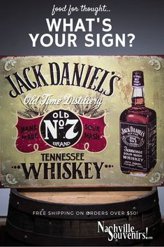 45590575859b1 Jack Daniels Old No 7 Tennessee Hand Made Sour Mash Whiskey Tin Sign