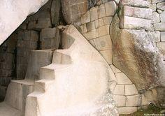 Stonework below the Temple of the Sun at Machu Picchu, Peru.