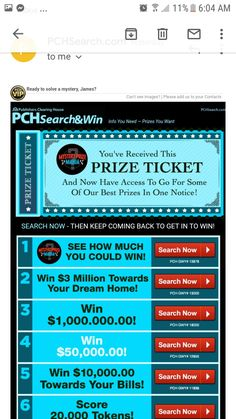 Instant Win Sweepstakes, Win For Life, Publisher Clearing House, Image Please, See Images, Live Life, Iowa, Ticket, Mary