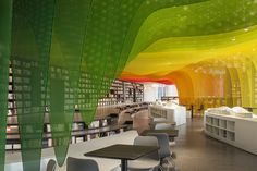 A beautiful rainbow created by coloured perforated aluminium - so beautiful. Yet another example of the versatility of Gallery of Metal Rainbow-Zhongshu Bookstore in Suzhou / Wutopia Lab - 22 Suzhou, Flow Design, Design Case, Design Design, Bridge Design, Commercial Architecture, Hospitality Design, Shop Interiors, Home And Deco