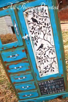 Gorgeous Hand Painted Bird Silhouette Wardrobe By All Things Painted - Repurposed & Reinvented Furnishings - Featured On Furniture Flippin' - www.FurnitureFlippin.com