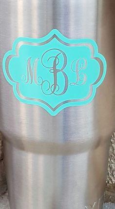 Fancy Frame monogram decal vinyl - Yeti cup decal More Monogram Cups, Cricut Monogram, Monogram Decal, Monogram Frame, Cricut Vinyl, Monogram Gifts, Silhouette Cameo Vinyl, Silhouette Cameo Projects, Decals For Yeti Cups