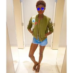 Coachella / Festival style from Top Shop Houston High waisted shorts bomber jacket Strappy body suit IG: authentically.b