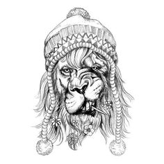 Small Black Hipster Lion