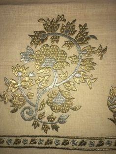 Antique Ottoman-Turkish Silk And Gold Metallic Hand Embroidery On Linen 3