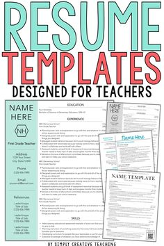 Land your ideal teaching job, whether it's your first year & you have no experience or you just want to update your teaching portfolio, these editable teacher resumes are unique & stand out! The design of each resume template is simple & creative. The design ideas included help showcase your skills. These editable resumes can work for elementary, middle, or high school teachers, even special area teachers or special education teachers. Show your profile & objectives with these samples.