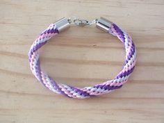 Kumihimo bracelet. Pink and purple kumihimo by Hermitinas on Etsy, €10.00