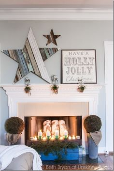 How to DIY a scrap wood star with reclaimed wood- great tutorial here!  Pretty Christmas mantel decorating idea.