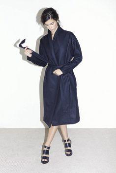 midnight blue kimono robe coat from Datura