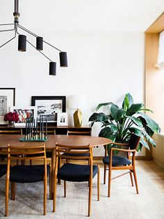 Stylish+midcentury+modern+dining+room+with+beautiful+wooden+dining+furniture