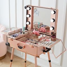 Calling all aspiring MUAs – this travel vanity was designed with you in mind! Now you can take your get-ready station on the go with this chic rose gold travel vanity. Featuring fold out trays with see-through lids to keep essentials protected,… Cute Room Decor, Teen Room Decor, Room Ideas Bedroom, Bedroom Decor, Travel Room Decor, Travel Bedroom, Girls Bedroom Furniture, Beauty Room Decor, Bedroom Crafts