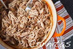 The ultimate recipe for carnitas, utilizing the very affordable pork shoulder in a slow-braising cooking method. Perfect for tacos, burritos, and more! Mexican Dishes, Mexican Food Recipes, Ethnic Recipes, Vegetarian Mexican, Pork Recipes, Cooking Recipes, Vegetarian Recipes, Recipies, Pork Dishes