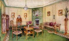 Here we look at the use of paint and wall paper in the Victorian and Edwardian Drawing Room, carpets, curtains, and lighting. 1920s Furniture, Vintage House Plans, Vintage Houses, 1920s Home Decor, Art Deco, D House, Vintage Interiors, Drawing Room, Apartment Design